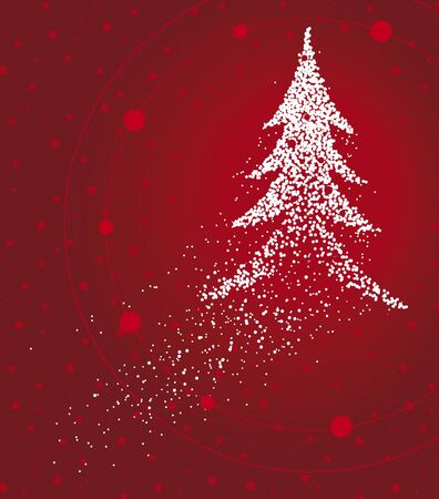 Christmas tree formed by a magical trail of flying points on red background