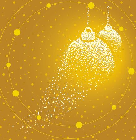 Christmas balls formed by a magical trail of flying points on golden background