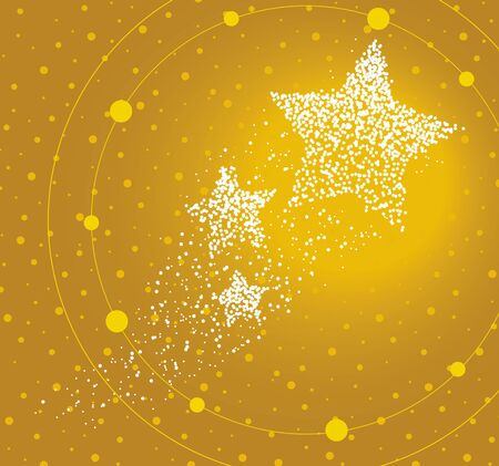 Stars formed by a magical trail of flying points on golden background
