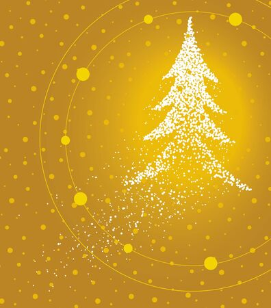 Christmas tree formed by a magical trail of flying points on golden background