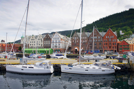 Famous Bryggen street with wooden colored houses in Bergen, Norway Editorial