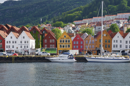 heritage protection: Famous Bryggen street with wooden colored houses in Bergen, Norway Editorial