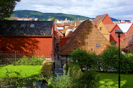 Bryggen wood houses, Bergen, Norway Stock Photo