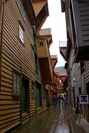 Bryggen wood houses, Bergen, Norway Editorial