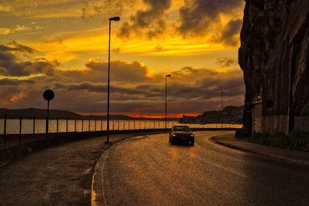 Evening coastal road