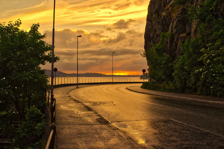 Evening coastal road