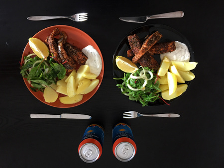 A western style steak on a black table