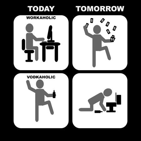 Workaholic vs Vodkaholic Vector