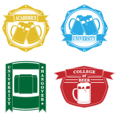 Funny college emblems Vector