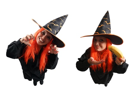 Witch sorcery and wrong spell isolated on white background photo