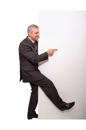 People theme: Businessman and placard photo