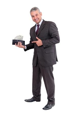 Zakenman het maken van geld geïsoleerd op witte achtergrond Stockfoto