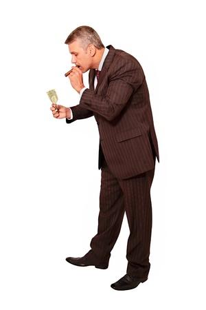 People theme: Burning money - Lighting a cigar photo