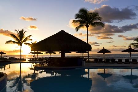 brazil beach: The Sunrise at swimming pool in Bahia - Brazil. as beach theme