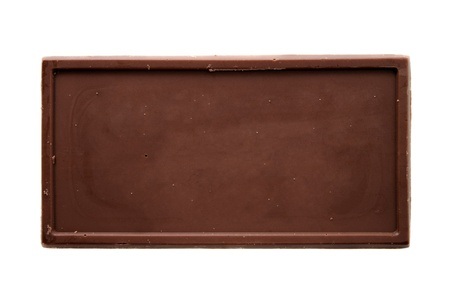 Chocolate bar top view isolated on white background