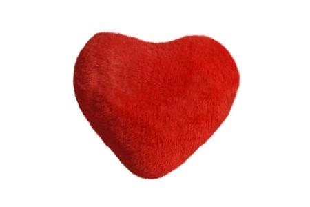 Plush heart isolated on white background