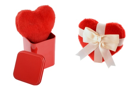 Heart gifts isolated on white background