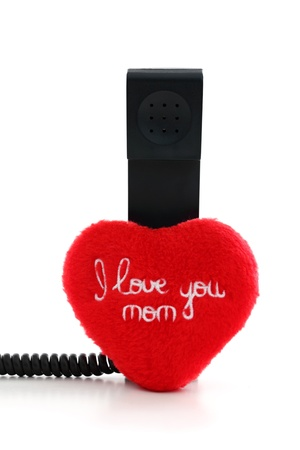 Calling mom to say I love you on white background photo