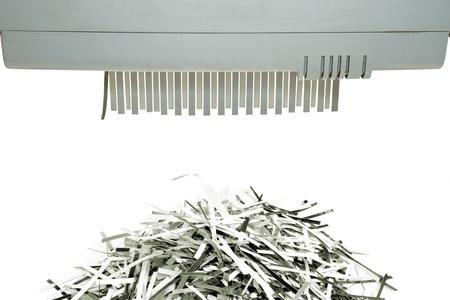 Paper shredder and shred mount isolated on white background Standard-Bild