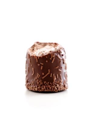 marshmellow: Chocolate marshmellow missing bite on white background