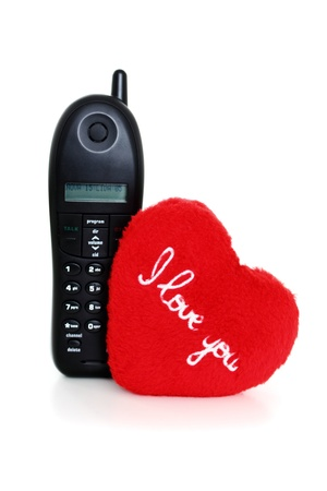 Call to say I love you on white background photo