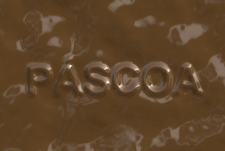 br: A textphrase made of chocolate from a chocolate serie. Páscoa is in Portuguese-BR language and it means Easter.
