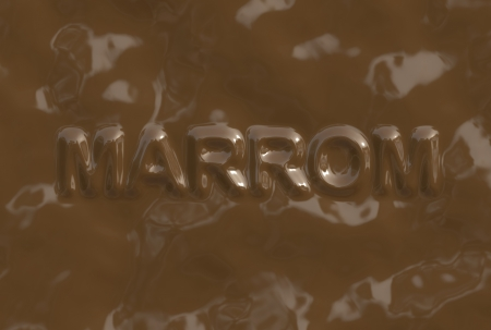 A wordphrase made of chocolate from a chocolate serie. Marrom is in Portuguese-BR Language and it means Brown.