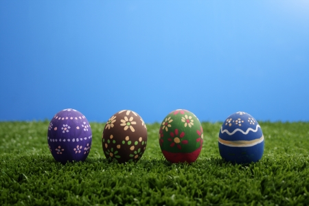 Painted Eggs on white background. photo