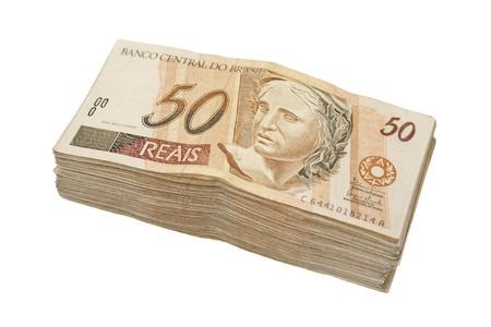 rubberband: Dinero acumulado brasile�o Foto de archivo