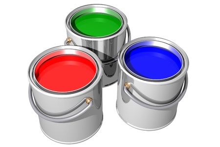 RGB paint cans isolated on white. 3D image. photo