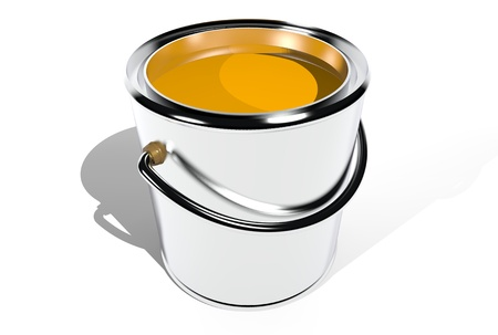 Full paint can isolated on white. 3D image. photo
