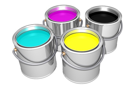 Cyan, Magenta, Yellow and Black paint cans isolated on white. 3D image. photo
