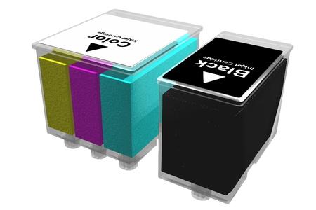 inkjet: Cartuchos de inyecci�n de tinta transparente aislado en un fondo blanco. Imagen tridimensional.
