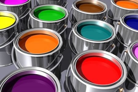 colorful inks in paint cans isolated on white. 3D image. photo