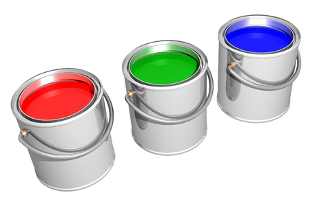 Aligned RGB paint cans isolated on white. 3D image.