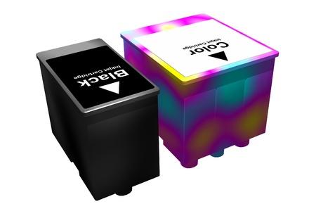 inkjet: Cartuchos de inyecci�n de tinta aislado en un fondo blanco. Imagen tridimensional. Foto de archivo