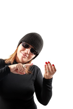 Female thief holding gesture isolated on white background photo