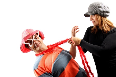 hanged woman: Funny couple isolated on white background Stock Photo