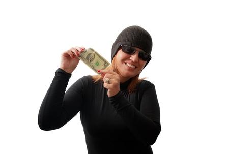 Thief holding money isolated on white background photo