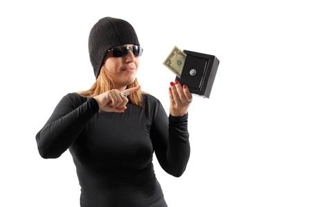 Thief girl isolated on white background photo