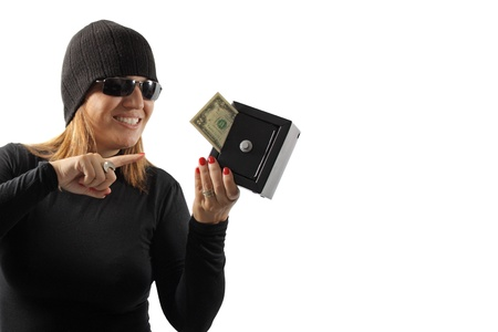 petty theft: Thief girl holding a safe isolated on white background