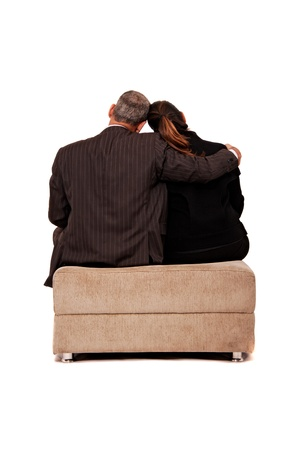 lovemaking: Back view of a sit couple