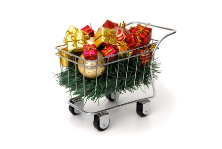 Christmas shopping time on white background Stock Photo - 18582082