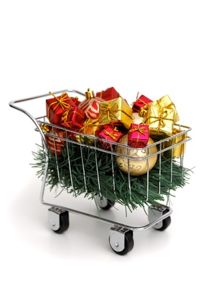 Christmas shopping time on white background photo