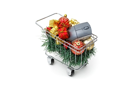 E-commerce Christmas shopping time - Side view on white background Stock Photo - 18582503