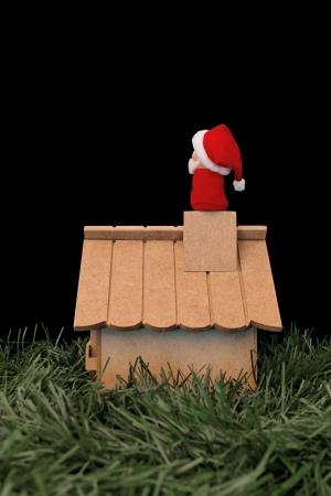 Christmas theme: Santa Claus looking at the xmas night Stock Photo - 18581637