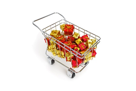 Christmas gifts shopping time on white background Stock Photo - 18581994