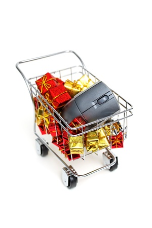 E-commerce Christmas shopping time on white background Stock Photo - 18582267