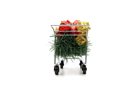 E-commerce Christmas shopping time - rear  view on white background Stock Photo - 18581649
