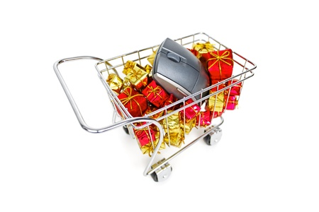 E-commerce Christmas shopping time on white background Stock Photo - 18581323
